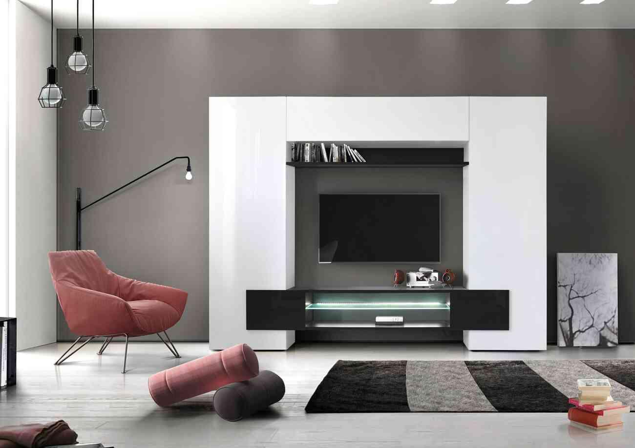 1357 incastro soggiorno bianco nero lq gruppo inventa arredamento
